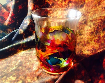 Alcohol Ink Stained Glass Candle Holder