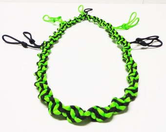 Custom Spiral Paracord Goose/Duck Call Lanyard Black and Neon Green