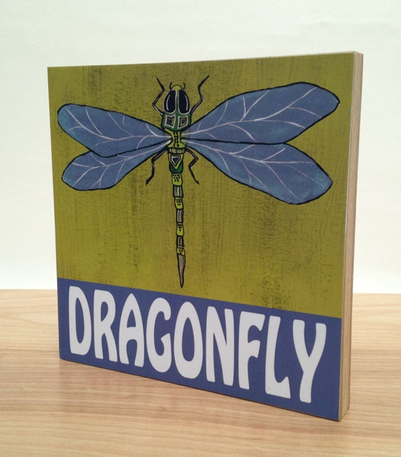 Dragonfly Nursery Wall Decor : Bug nursery art print block kids room wall by