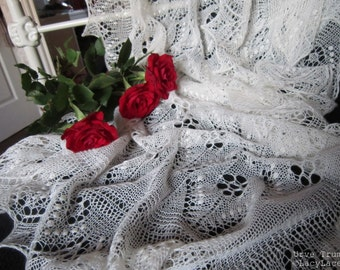 100% Cashmere natural White, Handknitted Traditional Estonian Lace, Haapsalu Shawl FREE SHIPPING