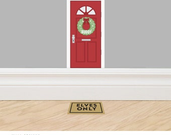 Personalized Christmas Elf Door - Decal accessory made from reusable vinyl