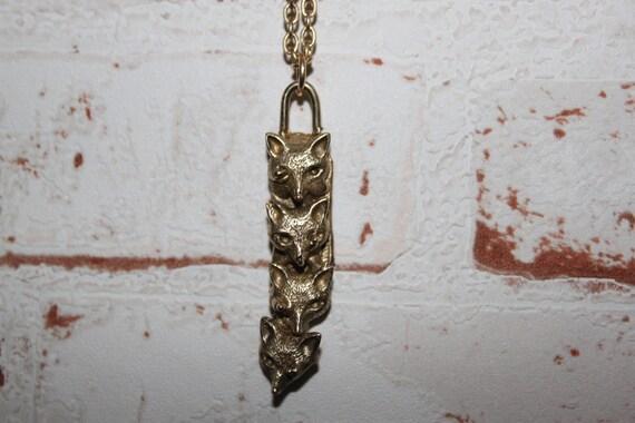 Four Fox head Necklace