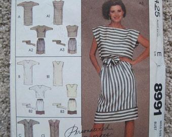 UNCUT Misses Dress or Top, Skirt and Tie Belt - Size 20 - McCalls Pattern 8991 - Vintage 1984