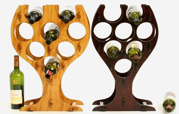 8 bottle oak table top white wine glass shaped or red wine glass shaped wine rack - Wine rack shaped like wine bottle ...