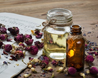 Rose Body Oil. All Natural, Spa, Massage. Infused with Roses. Luxurious Hydration. Rosehip Oil, Vit E, Rose Buds and Petals