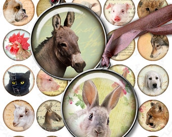 Digital collage sheet ANIMAL FRIENDS 1.5 inch circle - digital images puppies pendants magnet stickers - instant download printable - tn267