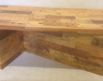 Upcycled Reclaimed Parquet Rustic Flooring Coffee Table - Reclaimed Wood - Handcrafted by Yellowbelly Woodwork  in Lincolnshire