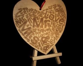 Word Cloud Laser Engraved Heart
