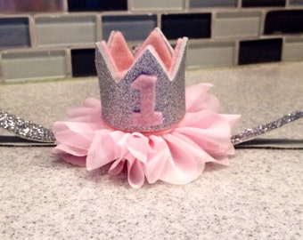 Silver and pink crown headband, pink first birthday crown, pink silver first birthday crown, pink birthday crown