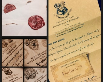 Personalized Hogwarts Wizard Acceptance Letter with House Letter Harry Potter inspired