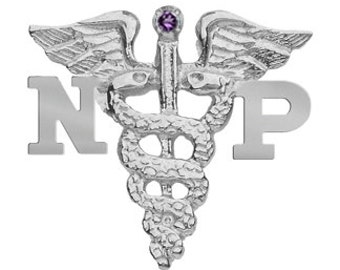 NP Nursing Pins in Silver | Nurse Practitioner Graduation Jewelry