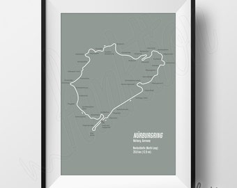Nurburgring Full Circuit Print - Digital Download - F1 Race Track Map - 8 x 10 - Nurburgring Nordschleife (North Loop) Circuit in Germany