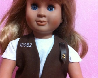 Brownie Uniform for American Girl Size Doll with brown or kakhi shorts . Vest and blouse is fully lined, has your Troop #.