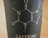Embroidered Caffeine Molecule Coffee or Beverage Cozy