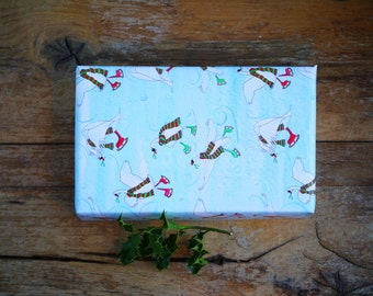 Christmas Wrapping Paper Skating Swans