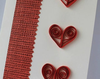 Quilling greeting card congratulations Valentine's day, wedding, invitation