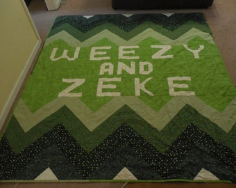 One Color Ombre Zig Zag Quilt. Personalize with your name!