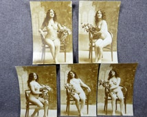 Lot of 5 Nude Woman REAL PHOTO POSTCARDS - Same Woman All Different Views