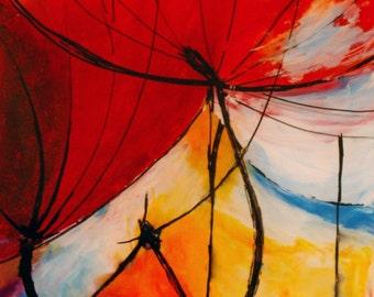 Poppies, modern abstract artwortk, acrylic on plexiglass