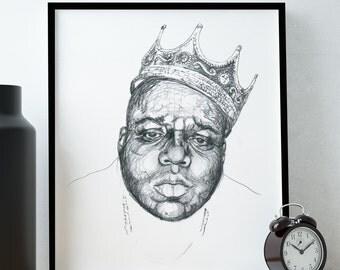 Nortorious B.I.G. Biggie Smalls Poster / Biggie Portrait Wall Art