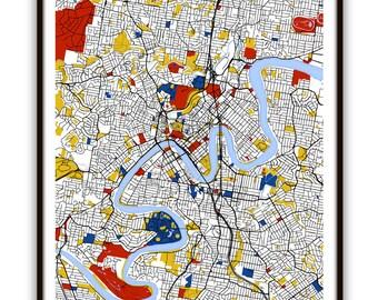 Brisbane Map Art / Brisbane, Australia Wall Art / Print / Poster / Modern Home Decor