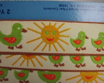 Vintage 1960s Embroidered Ribbon with Ducks and Sun!