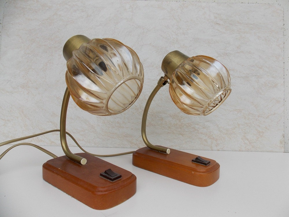 Pair Table Lamps Desk Lamps 1970s Glass Shades Table Lamp