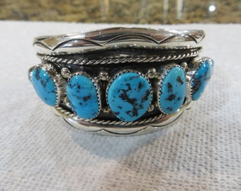 Native American Turquoise Cuff Bracelet - Signed
