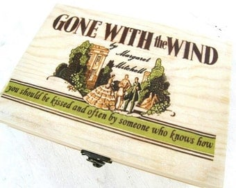 Gone with the wind box, Personalized wooden box, wood keepsake box, Gone with the wind box, cinema box, movie box, original wooden box, gift