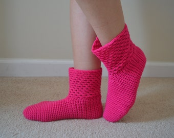 Crochet Bright Pink Socks, Neon Pink Home Boots, Home Shoes, Women Accessories