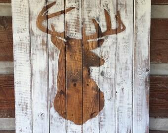Deer head silhouette distressed