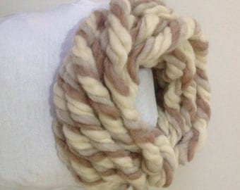 Super Chunky infinity scarf NO NEED knit , Super bulky scarf, Chunky Merino scarf, Merino wool scarf, Super chunky scarf,