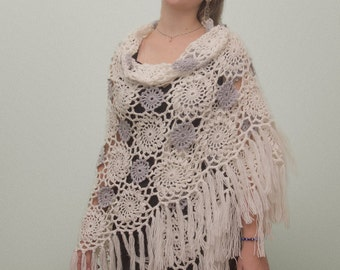 Crochet Openwork Shawl. Hand Knit Holiday Shawl.
