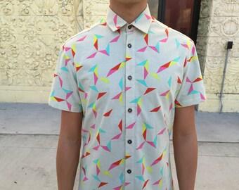 Men's short sleeve button-down shirt, handmade, 100% cotton, geometric / triangular tangram fabric