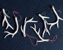 Set of 6 - White Antler Ornaments