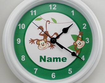 Personalized MONKEY Green Nursery Wall Clock