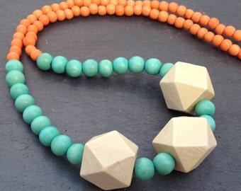 Teal, Orange & Cream Single Strand Wood Bead Necklace with Geometric Beads