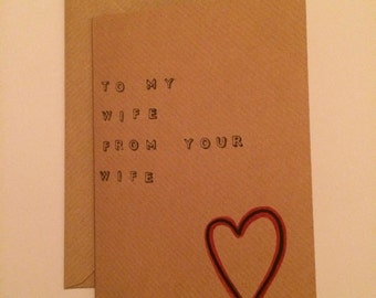 Handmade To My Wife From Your Wife | Lesbian Love Card | Birthday | Valentines | Anniversary | LGBT
