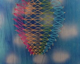 Hot air balloon string art