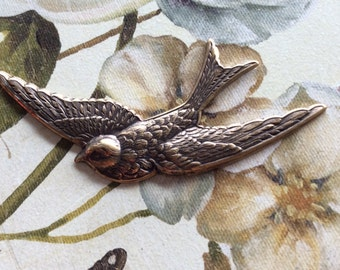 Antique brass swallow bird connector 1 pc
