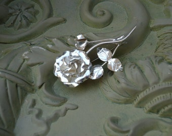 Vintage Taxco Silver 925  Intricate Rose Brooch