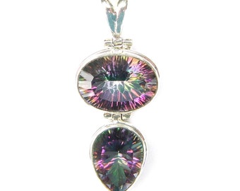 Absolutely Stunning Hand Made Mystic Topaz Double Drop Sterling Silver Pendant