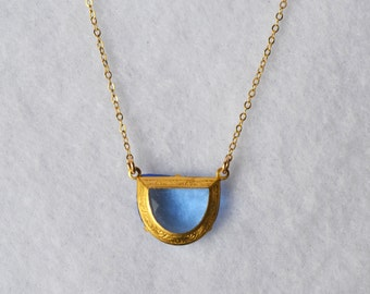 Only 1 left! 1950s Vintage Art Deco Czech Blue Faceted Glass Stone Pendant w Scroll Detail Setting,Gold Filled Chain Necklace, Lobster Clasp