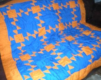 Orange  and Blue Quilt - New