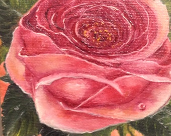 """ROSE--- original oil painting mini art from my """" sweets"""" collection gorgeous one of a kind piece of art Now******Free Shipping*******."""