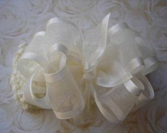 IVORY Organza hair bow headband flower girl 4 inch boutique wedding baptism christening pageant clip barrette satin edge