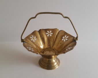 Vintage Solid Brass Basket by Wm. Rogers & Son / Cutout Candleholder / Trinket / Jewelry Basket / Catchall / c 1970s