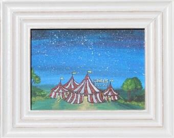 Night Circus. Original framed painting. Children's art. Nursery art.
