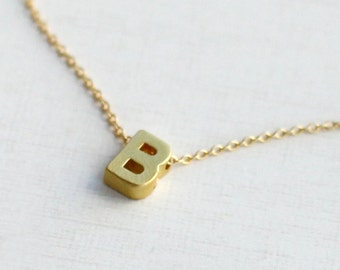 Gold Letter Initial Necklace, Personalized Monogram Pendant , 18K GOLD Plated Necklace, Name Jewelry, Flower girl Gift, Bridesmaid necklace