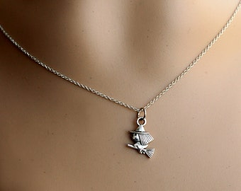 witch necklace, lovely silver witch necklace jewelry, kids gift, black friday SALE
